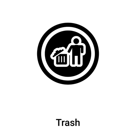 Trash icon isolated on white background, concept of Trash sign on transparent background, filled black symbol Illustration