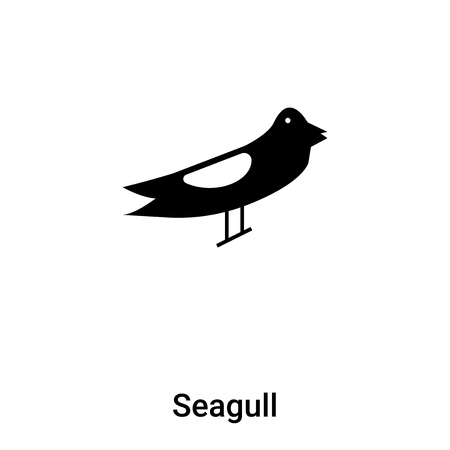 Seagull icon vector isolated on white background,  concept of Seagull sign on transparent background, filled black symbol