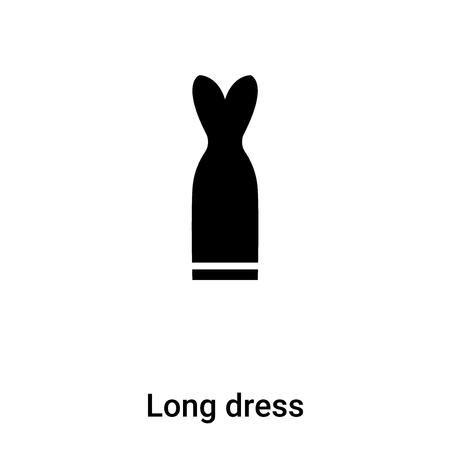 Lange jurk pictogram vector geïsoleerd op een witte achtergrond, logo concept van lange jurk teken op transparante achtergrond, gevuld zwart symbool