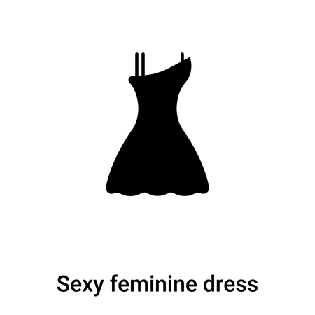 Sexy feminine dress in black icon  vector isolated on white background, concept of Sexy feminine dress in black  sign on transparent background, filled black symbol  イラスト・ベクター素材