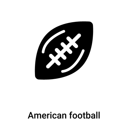 American football icon vector isolated on white background, concept of American football sign on transparent background, filled black symbol