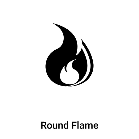 Round Flame icon vector isolated on white background, concept of Round Flame sign on transparent background, filled black symbol Vectores