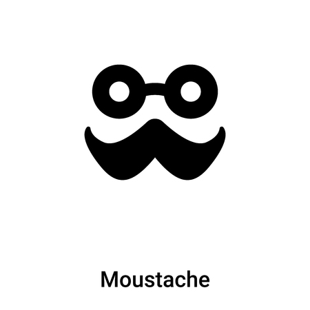 Moustache icon vector isolated on white background, concept of Moustache sign on transparent background, filled black symbol