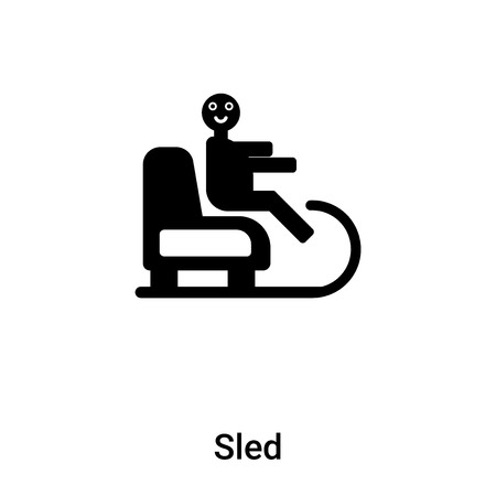 Sled icon vector isolated on white background, logo concept of Sled sign on transparent background, filled black symbol Illustration