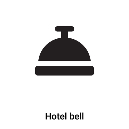 Hotel bell icon vector isolated on white background,  concept of Hotel bell sign on transparent background, filled black symbol