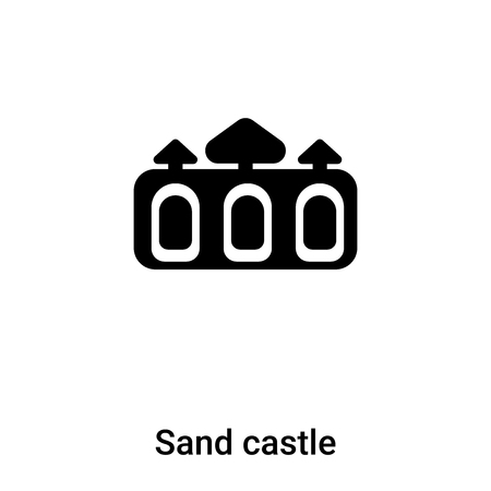 Sand castle icon vector isolated on white background,  concept of Sand castle sign on transparent background, filled black symbol