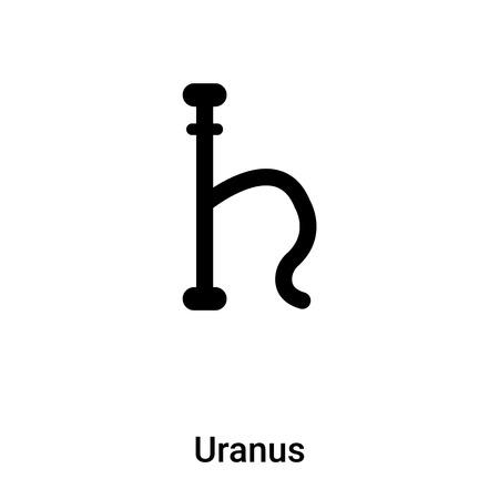 Uranus icon vector isolated on white background, concept of Uranus sign on transparent background, filled black symbol Illustration