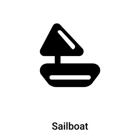 Sailboat icon vector isolated on white background, concept of Sailboat sign on transparent background, filled black symbol
