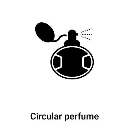 Circular perfume bottle icon  vector isolated on white background, concept of Circular perfume bottle  sign on transparent background, filled black symbol