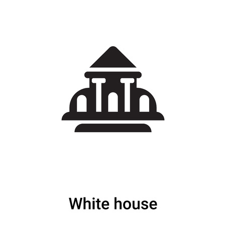 White house icon vector isolated on white background, logo concept of White house sign on transparent background, filled black symbol