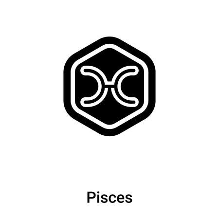 Pisces icon vector isolated on white background, l concept of Pisces sign on transparent background, filled black symbol Illusztráció