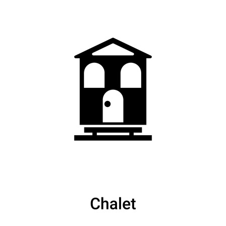 Chalet icon vector isolated on white background,  concept of Chalet sign on transparent background, filled black symbol Иллюстрация