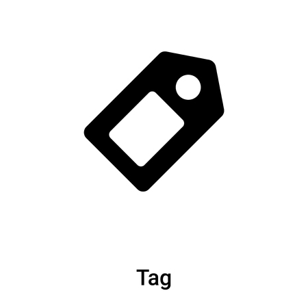 Tag icon isolated on white background,  concept of Tag sign on transparent background, filled black symbol Illustration
