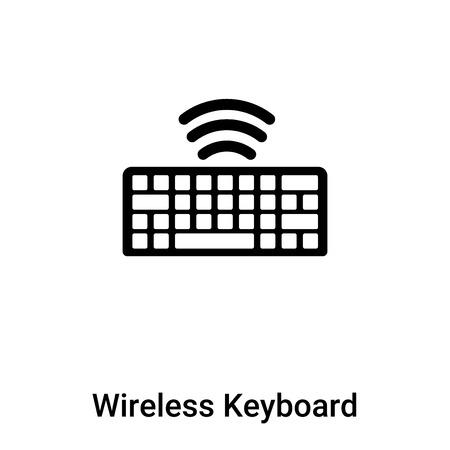 Symbol für drahtlose Tastatur isoliert auf weißem Hintergrund, Konzept des Zeichens für drahtlose Tastatur auf transparentem Hintergrund, gefülltes schwarzes Symbol Vektorgrafik