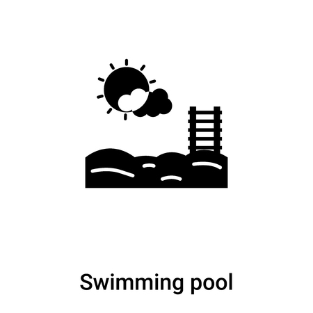 Swimming pool icon vector isolated on white background,  concept of Swimming pool sign on transparent background, filled black symbol 向量圖像