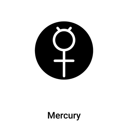 Mercury icon vector isolated on white background, logo concept of Mercury sign on transparent background, filled black symbol