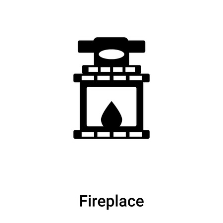 Fireplace icon vector isolated on white background, logo concept of Fireplace sign on transparent background, filled black symbol