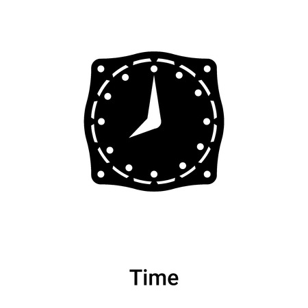 Time icon vector isolated on white background, logo concept of Time sign on transparent background, filled black symbol Illustration