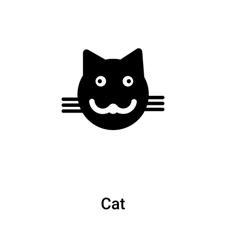 Cat icon vector isolated on white background,  concept of Cat sign on transparent background, filled black symbol Illustration