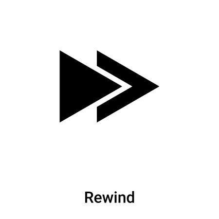 Rewind icon vector isolated on white background, concept of Rewind sign on transparent background, filled black symbol