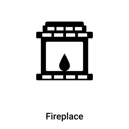 Fireplace icon vector isolated on white background,  concept of Fireplace sign on transparent background, filled black symbol Stock Illustratie