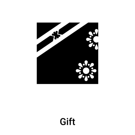 Gift icon vector isolated on white background,  concept of Gift sign on transparent background, filled black symbol