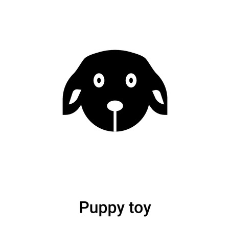 Puppy toy icon vector isolated on white background,  concept of Puppy toy sign on transparent background, filled black symbol Vectores