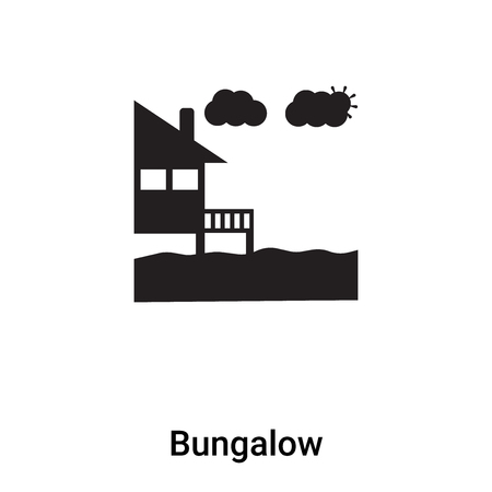 Bungalow icon vector isolated on white background,  concept of Bungalow sign on transparent background, filled black symbol
