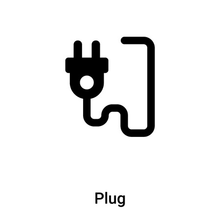 Plug icon vector isolated on white background,  concept of Plug sign on transparent background, filled black symbol