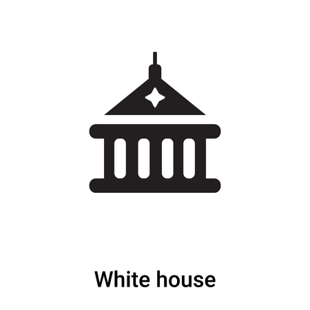 White house icon vector isolated on white background, concept of White house sign on transparent background, filled black symbol Illustration