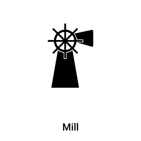 Mill icon vector isolated on white background, concept of Mill sign on transparent background, filled black symbol