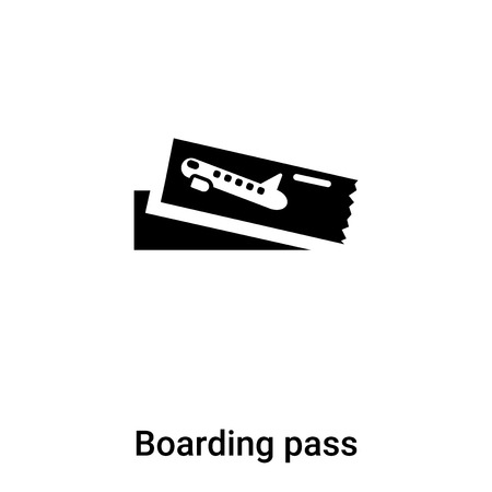 Boarding pass icon vector isolated on white background,  concept of Boarding pass sign on transparent background, filled black symbol