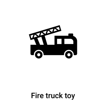 Fire truck toy icon vector isolated on white background, concept of Fire truck toy sign on transparent background, filled black symbol Illustration
