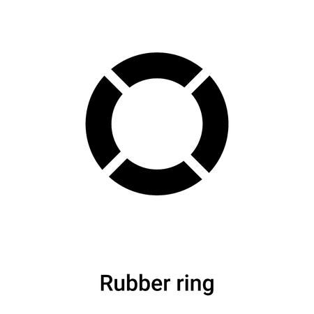 Rubber ring icon vector isolated on white background, concept of Rubber ring sign on transparent background, filled black symbol