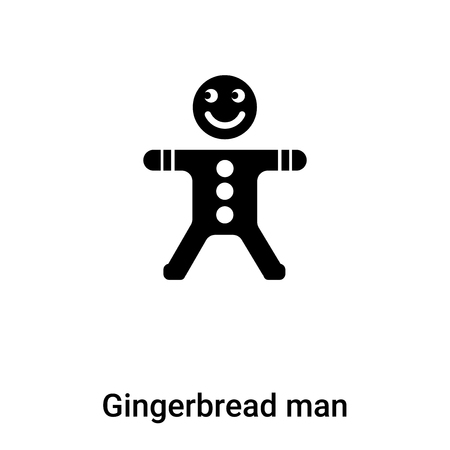 Gingerbread man icon vector isolated on white background,  concept of Gingerbread man sign on transparent background, filled black symbol Иллюстрация