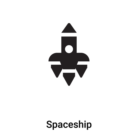 Spaceship icon vector isolated on white background,  concept of Spaceship sign on transparent background, filled black symbol Иллюстрация