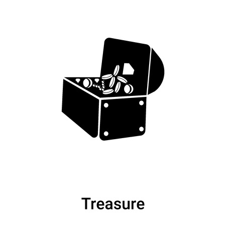 Treasure icon vector isolated on white background, concept of Treasure sign on transparent background, filled black symbol Иллюстрация