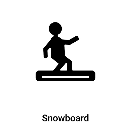Snowboard icon vector isolated on white background, concept of Snowboard sign on transparent background, filled black symbol