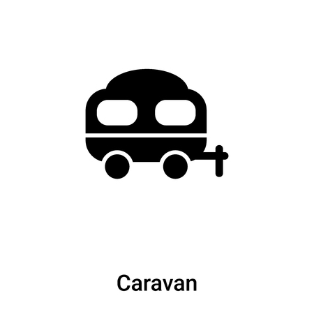 Caravan icon vector isolated on white background,  concept of Caravan sign on transparent background, filled black symbol Иллюстрация