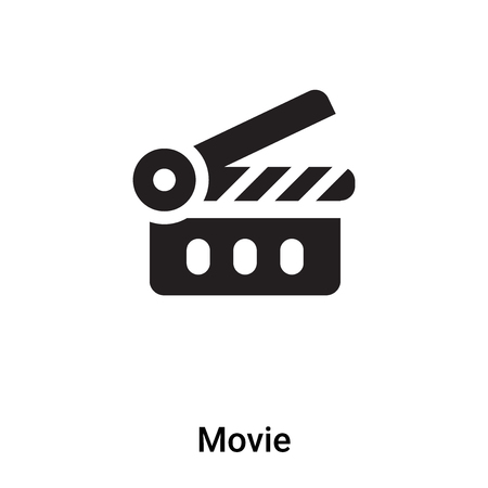 Movie icon vector isolated on white background,  concept of Movie sign on transparent background, filled black symbol Иллюстрация