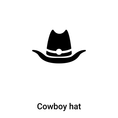 Cowboy hat icon vector isolated on white background,  concept of Cowboy hat sign on transparent background, filled black symbol Иллюстрация