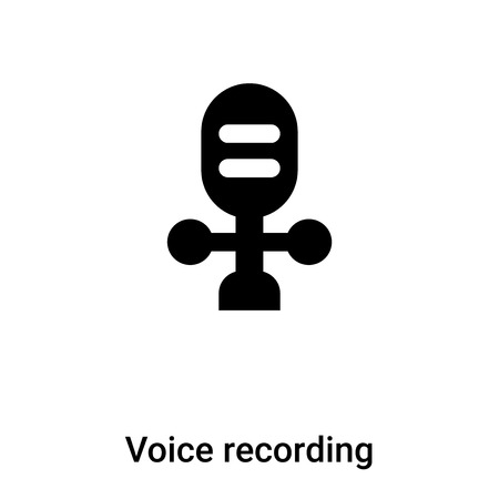 Voice recording icon vector isolated on white background,  concept of Voice recording sign on transparent background, filled black symbol Иллюстрация