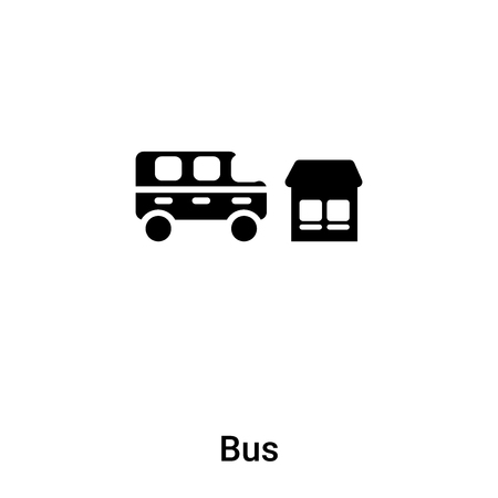 Bus icon vector isolated on white background,  concept of Bus sign on transparent background, filled black symbol