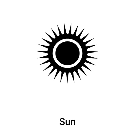 Sun icon vector isolated on white background,  concept of Sun sign on transparent background, filled black symbol Иллюстрация