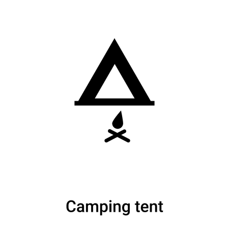 Camping tent icon vector isolated on white background,  concept of Camping tent sign on transparent background, filled black symbol Иллюстрация