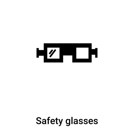 Safety glasses icon vector isolated on white background,  concept of Safety glasses sign on transparent background, filled black symbol Иллюстрация