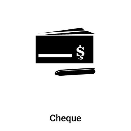 Cheque icon vector isolated on white background,  concept of Cheque sign on transparent background, filled black symbol Иллюстрация
