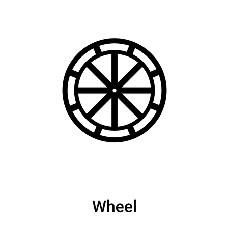 Wheel icon vector isolated on white background,  concept of Wheel sign on transparent background, filled black symbol