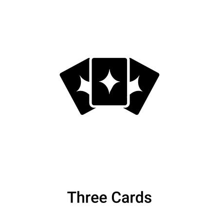 Three Cards icon vector isolated on white background, concept of Three Cards sign on transparent background, filled black symbol