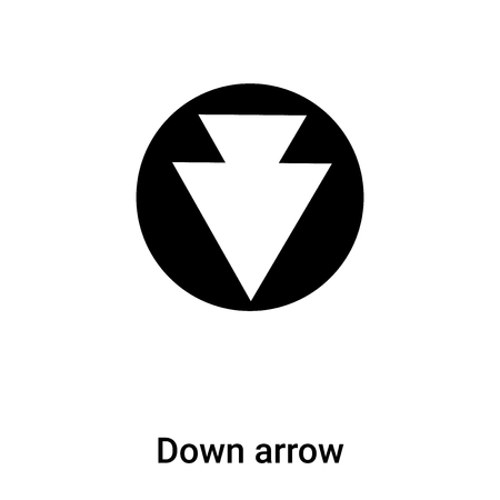 Down arrow icon vector isolated on white background, concept of Down arrow sign on transparent background, filled black symbol